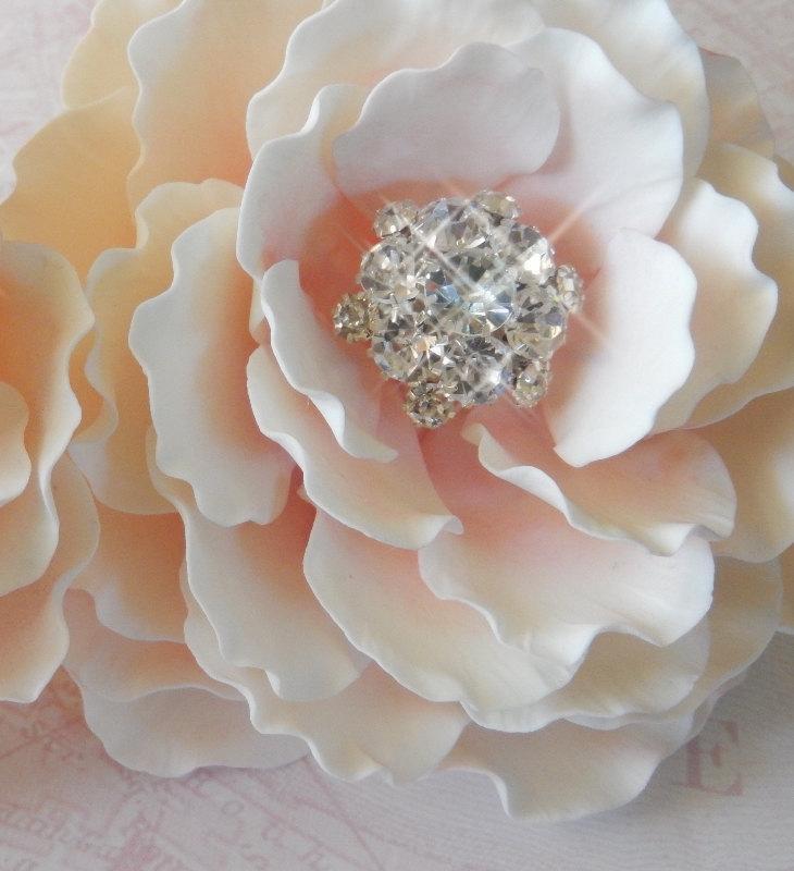 Mariage - Pink Sugar Gumpaste Peony w/ Rhinestones Wedding Cake Topper