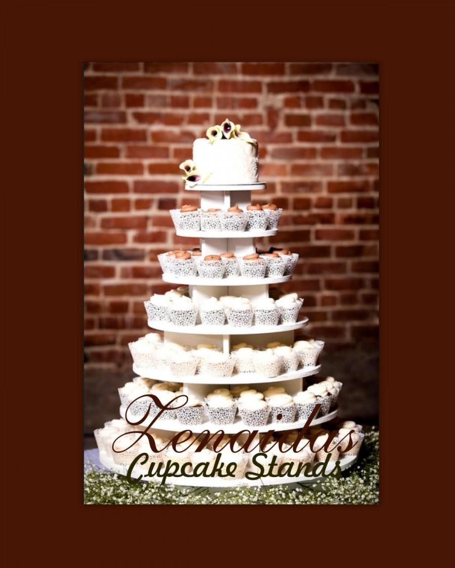 زفاف - Cupcake Stand  7 Tier Round 200 Cupcakes with Threaded Rod & Freestanding Style MDF Wood Birthday Stand Wedding Stand Unpainted DIY Project