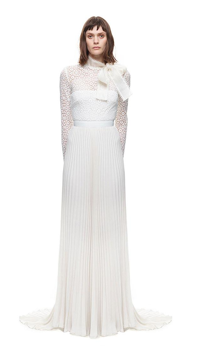 d28ee1e9ebdd Self Portrait Long Sleeve Gown With Pleated Skirt White #2514790 ...