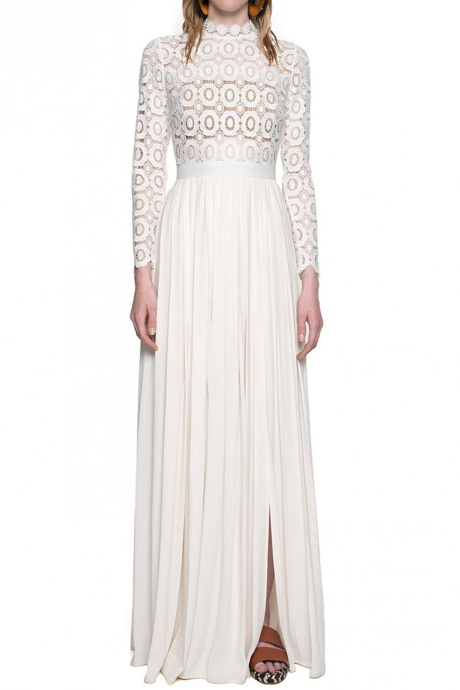 Self Portrait Pleated Crochet Floral Maxi Dress Off White