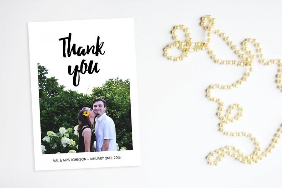 Mariage - wedding thank you printable card  - Digital 5x7 Photo Wedding Thank You / weddings / wedding photo / in love / INSTANT DOWNLOAD