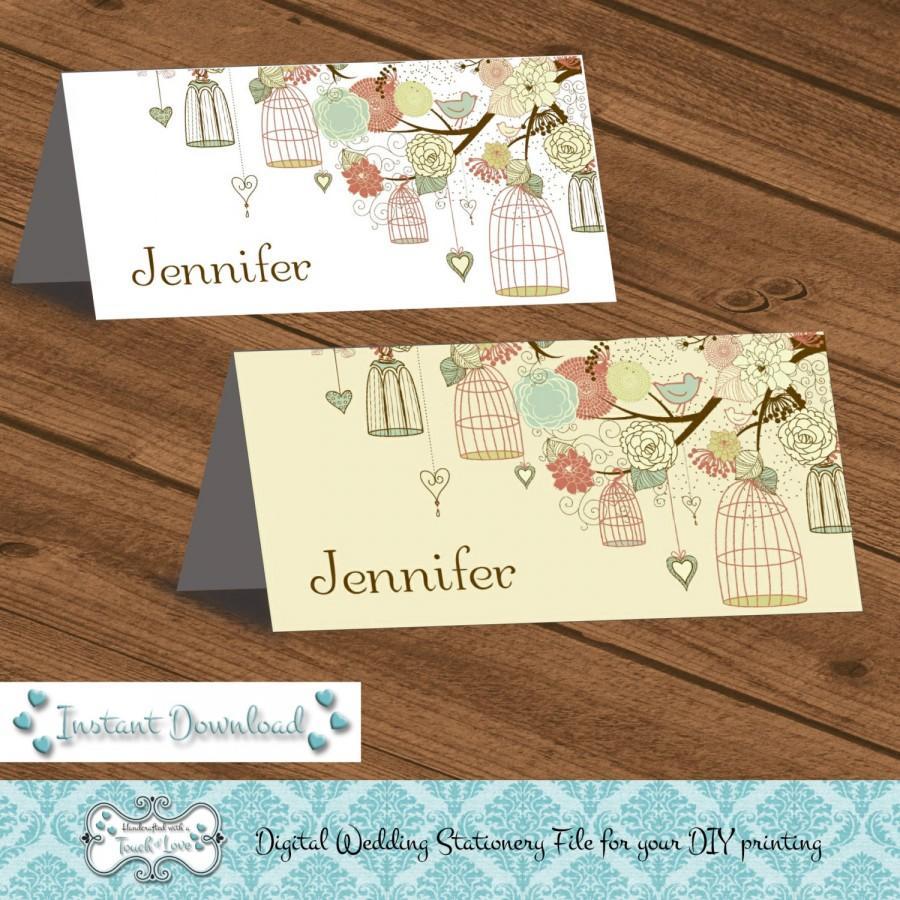 Mariage - Digital DIY Editable Wedding Place Card, Printable, Microsoft Word File, JPEG, Birdcage Instant Download