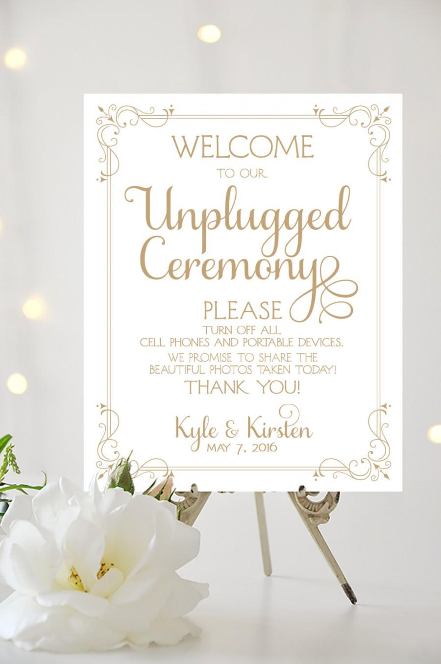 Mariage - Wedding Welcome Sign - Unplugged Ceremony - Various Sizes - Personalized - Ever After - Art Deco Border - I Create and You Print