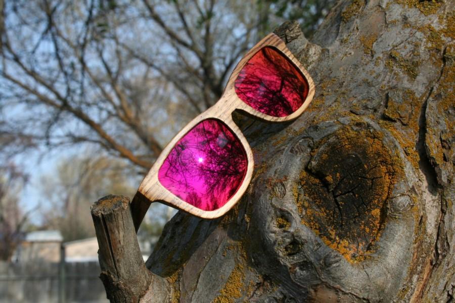 Mariage - Free Shipping. Zebrawood Pink Sunset Rainbow Lens Wayfarer polarized wood sunglasses. Natural Handmade. Wedding Sunglasses