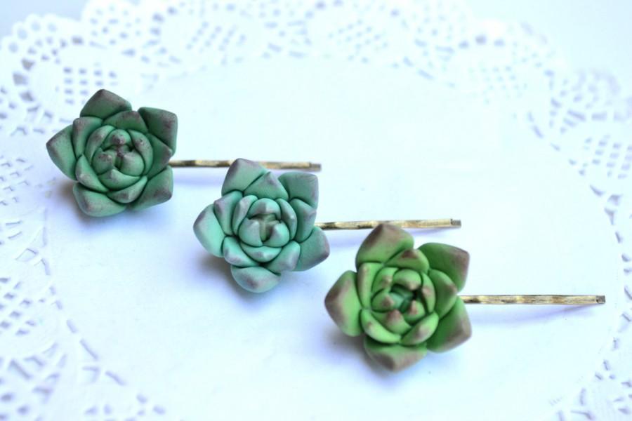 Mariage - Green succulent hair clip booby pin. Succulent hair jewelry. Rustic hair clip bobby pin hair accessory jewelry. Planter hair clip bobby pin