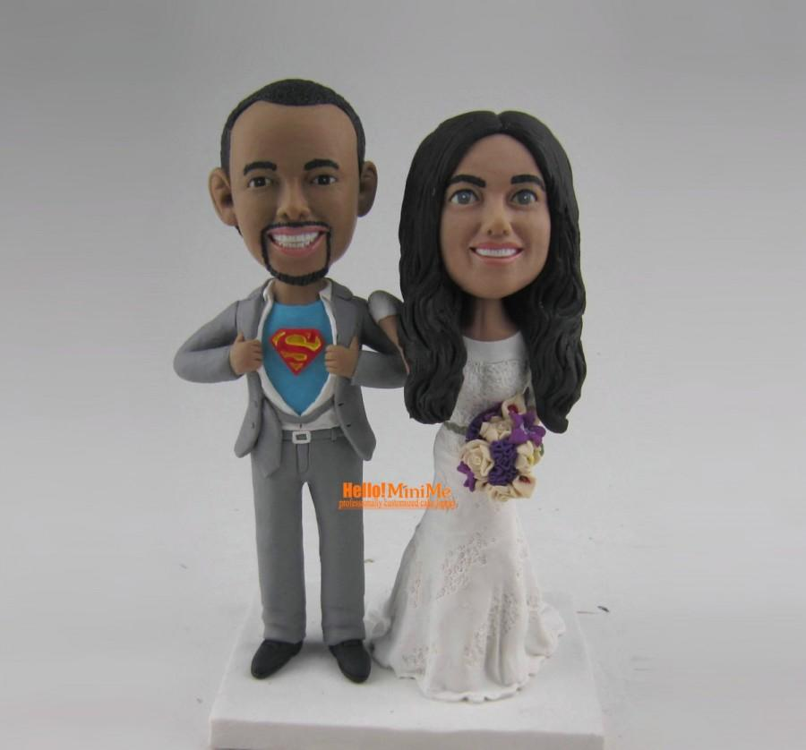 Superman Cake Topper Wedding Bobblehead Custom Bobble Head Unique Toppers