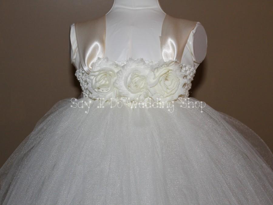 Свадьба - INTRO SALE: Ivory (shown) or White Beautiful Tutu Flower girl dress for baby toddler girl Wedding Dress
