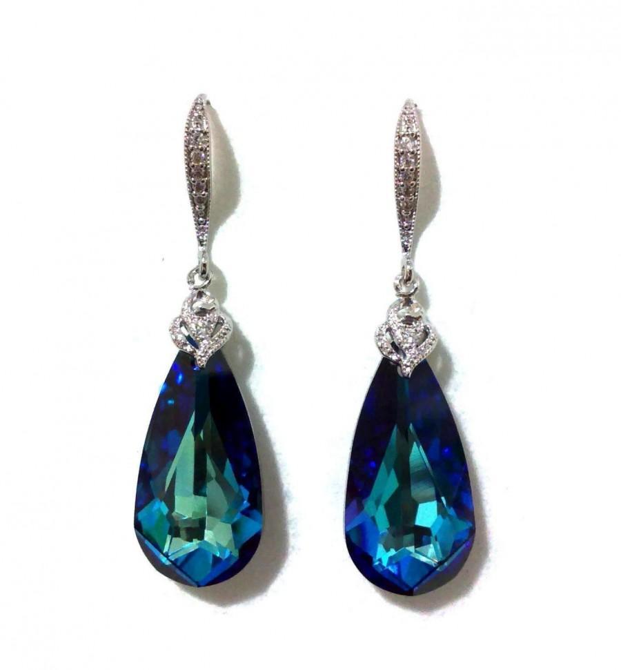 Hochzeit - Something Blue Teal Earrings, Peacock Wedding Jewelry, Swarovski Crystal Bridesmaid Earrings, ARIA