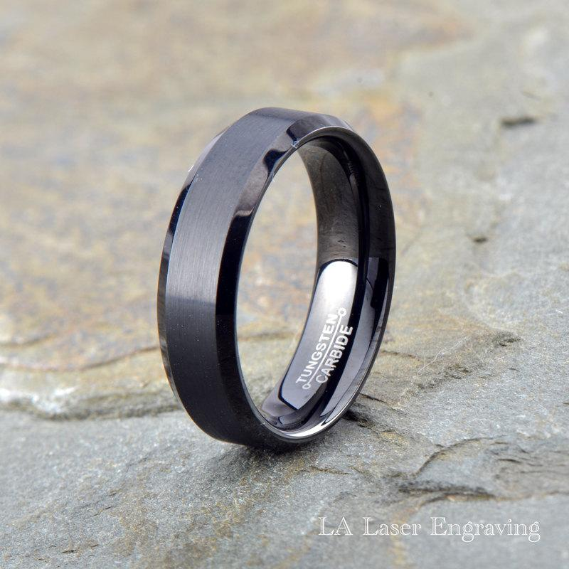 Hochzeit - Black Brushed Tungsten Carbide Wedding Band, Mens Brushed Tungsten ring, 6mm, Polished Beveled Edge, Custom Laser Engraving,