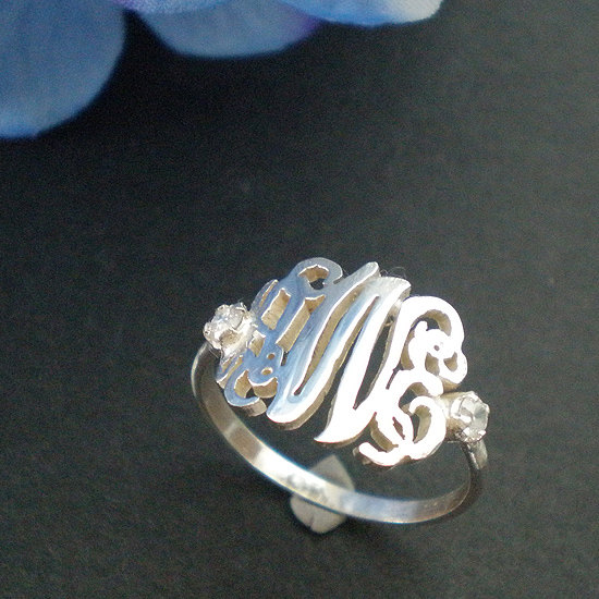 Wedding - 12mm Personalized Monogram Ring - Stering Silver Ring Monogram - Bridesmaid gift, Girl Friend gift, Mother Gift, Sister Gift - Size 4 - 14