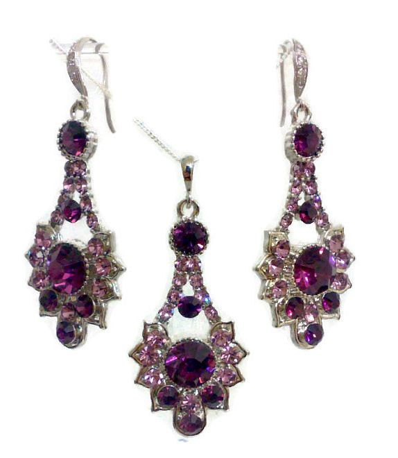 Hochzeit - Purple Bridal Amethyst Jewelry Set, Purple Earrings, Art Deco Necklace, Swarovski Crystal, RAYS
