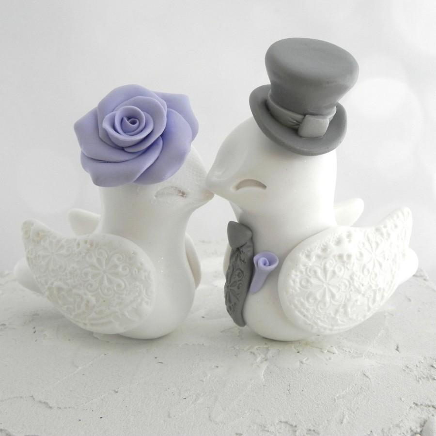 Hochzeit - Love Birds Wedding Cake Topper, White, Lilac and Grey, Bride and Groom Keepsake, Fully Customizable