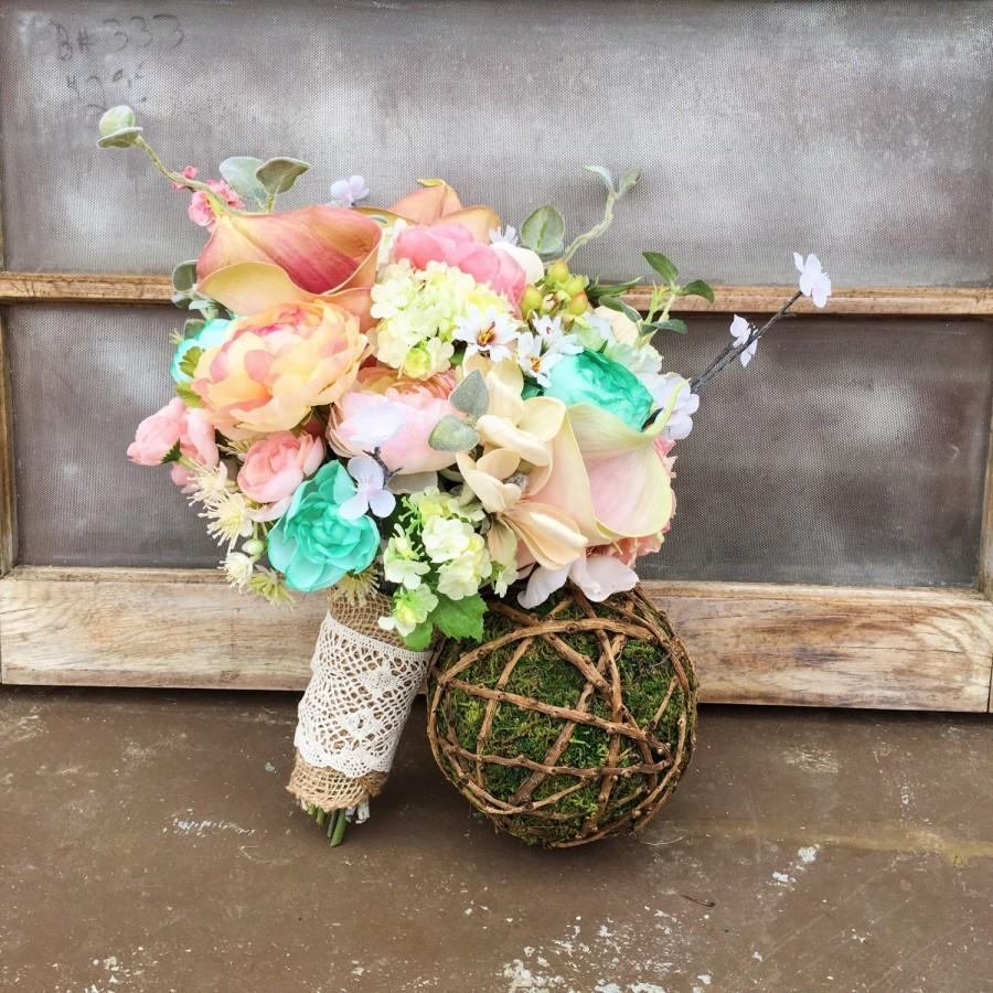 Mariage - Mint Peach and Ivory Rustic Country Bridal Bridesmaid Flowers Bouquet With Burlap and Lace