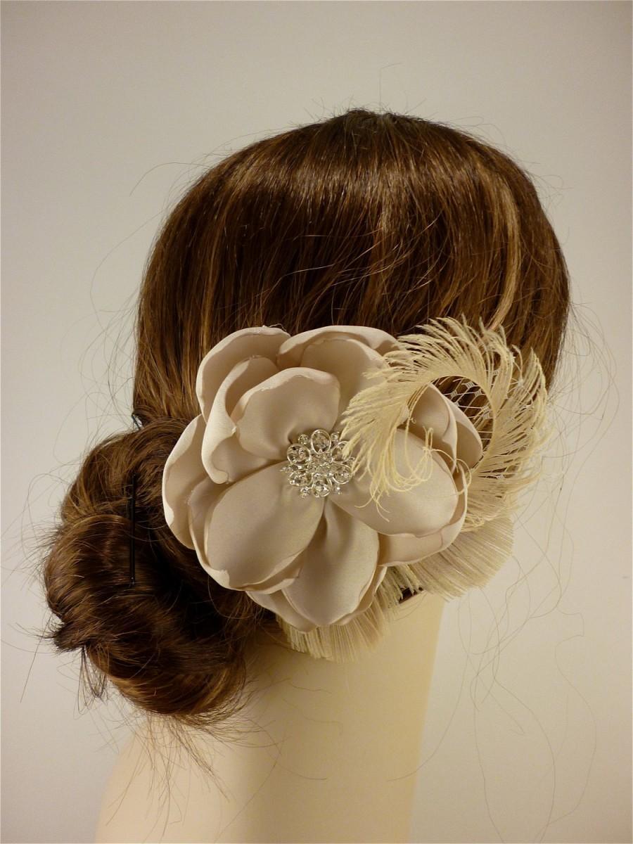 "زفاف - Handmade Champagne  Bridal Flower Fascinator 4.5"" flower, Bridal Headpiece, Bridal Fascinator, Wedding Fascinator, Flower Hair Clip"