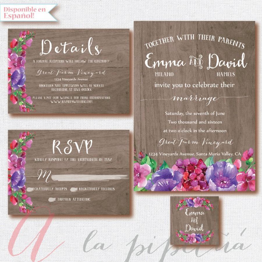 Wood Wedding Invitation Rsvp Card Rustic Weeding Diy Rusticfloral Printable: Rustic Wood Floral Wedding Invitations At Reisefeber.org