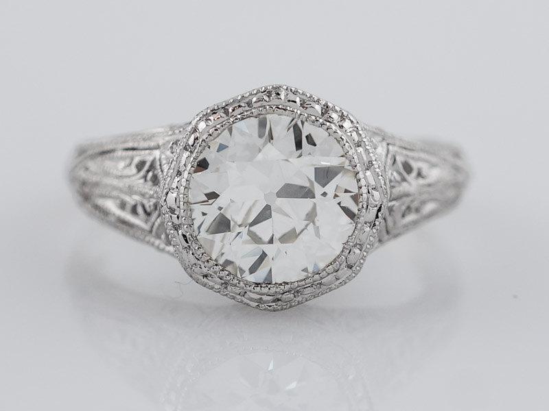 Hochzeit - Antique Engagement Ring Art Deco 1.19ct Old European Cut Diamond in Platinum