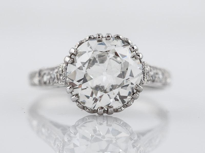 Hochzeit - 1920's Engagement Ring Art Deco GIA 2.06ct Old European Cut Diamond in Platinum