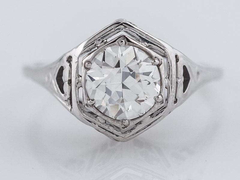 Hochzeit - Antique Engagement Ring Art Deco .94ct Old European Cut Diamond in Vintage 18k White Gold