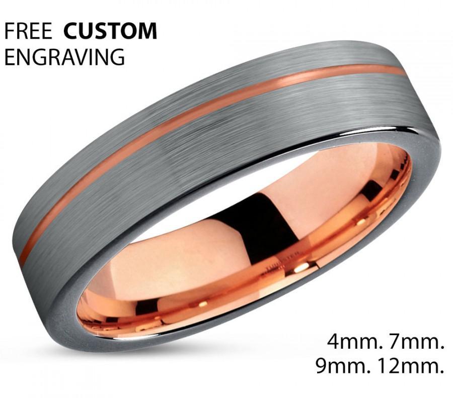 Hochzeit - Black Tungsten Ring Rose Gold Wedding Band Ring Tungsten Carbide 4mm 18K Tungsten Ring Man Wedding Band Male Women Anniversary Matching
