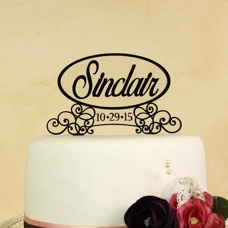 Wedding Cake Topper Personalized In Your Name And Wedding Date In ...