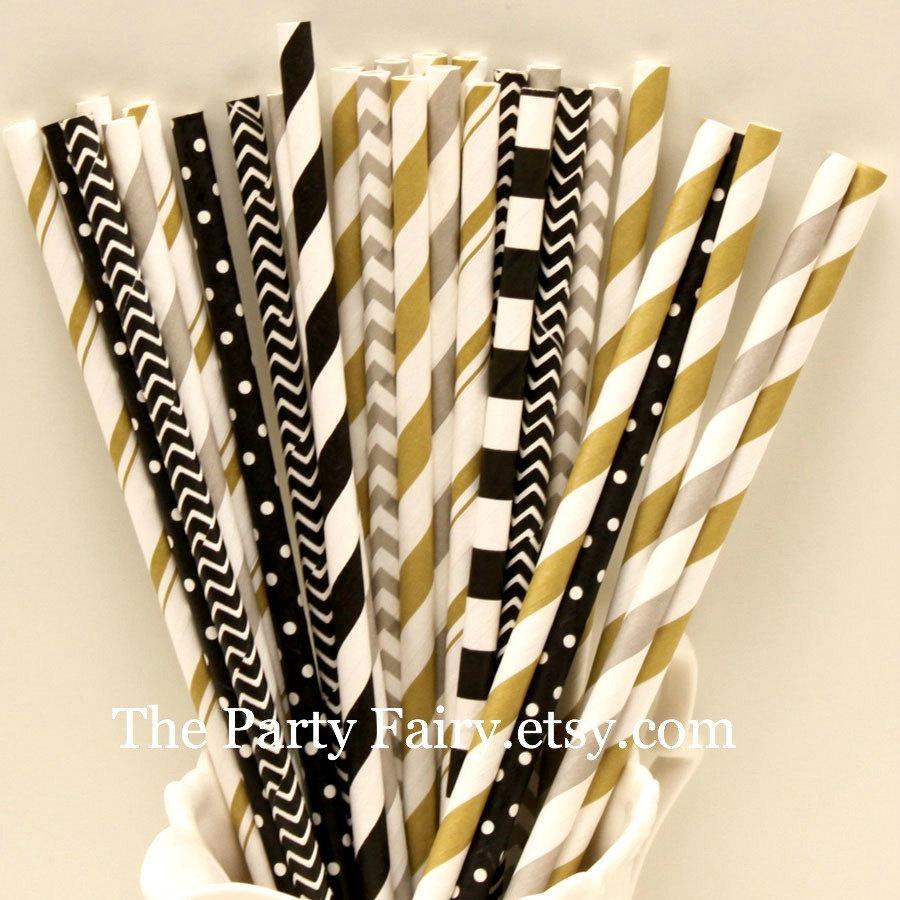 Свадьба - Paper Straws, 25 Gold, Black and Silver Party Straws, Gold Paper Straws, Graduation Party, Elegant Wedding Straws, Formal Events, Mason Jars