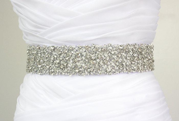 "زفاف - Best Seller - CORINNE - 2"" Bridal Couture Crystal Rhinestone Encrusted Bridal Sash, Wedding Beaded Sash Belt"