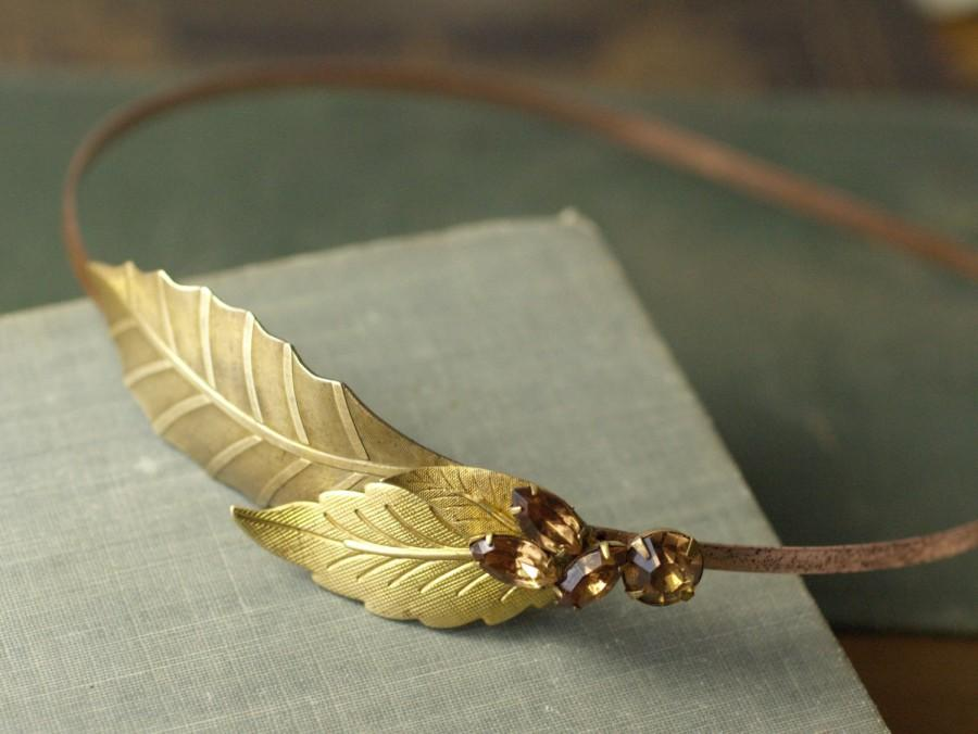 Mariage - Leaf headband vintage brass jewel grecian bridal topaz yellow champagne wedding hair accessory