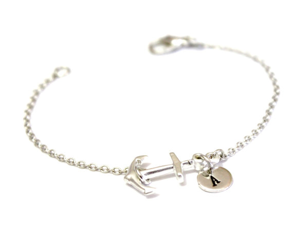 Anchor Bracelet Silver Personalized Hand Stamped Initial Mini Dainty