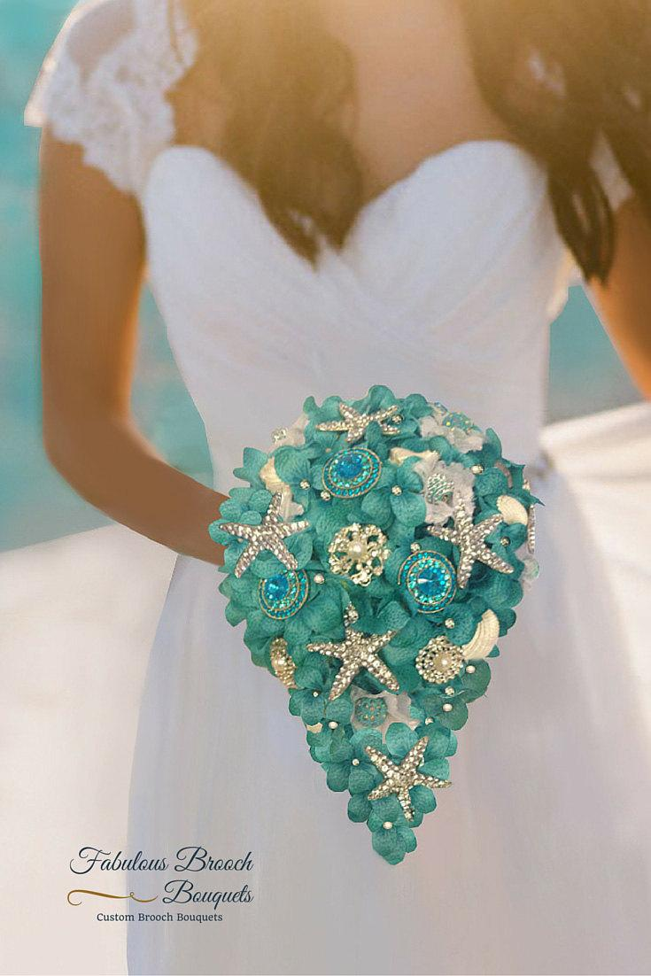 Hochzeit - Brooch Bouquet, Beach Bouquet, Destination Wedding Bouquet, Beach Brooch Bouquet, Deposit,  Full Price 299.99