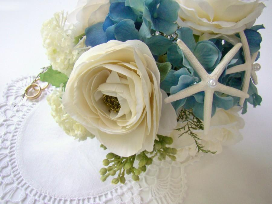 Beach Wedding Bouquet Starfish Bridal Destination Flowers Bridesmaid Blue Ivory Rose Hydrangea Soft Romance