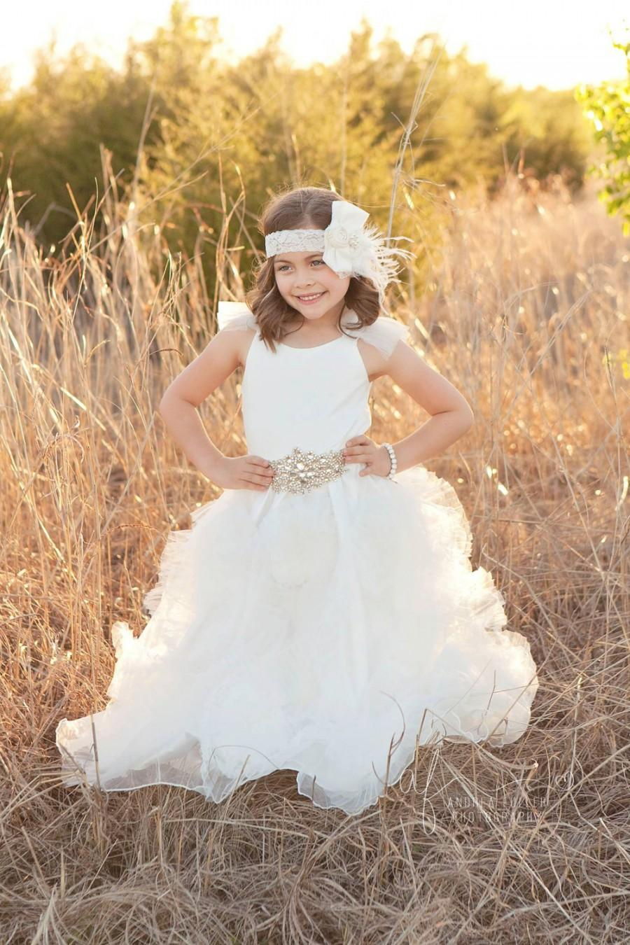 Hochzeit - White Flower girl dress, flower girl dresses, white tutu dress, flower girl dress, gown, baptism gown, white girl dress, vintage flower girl