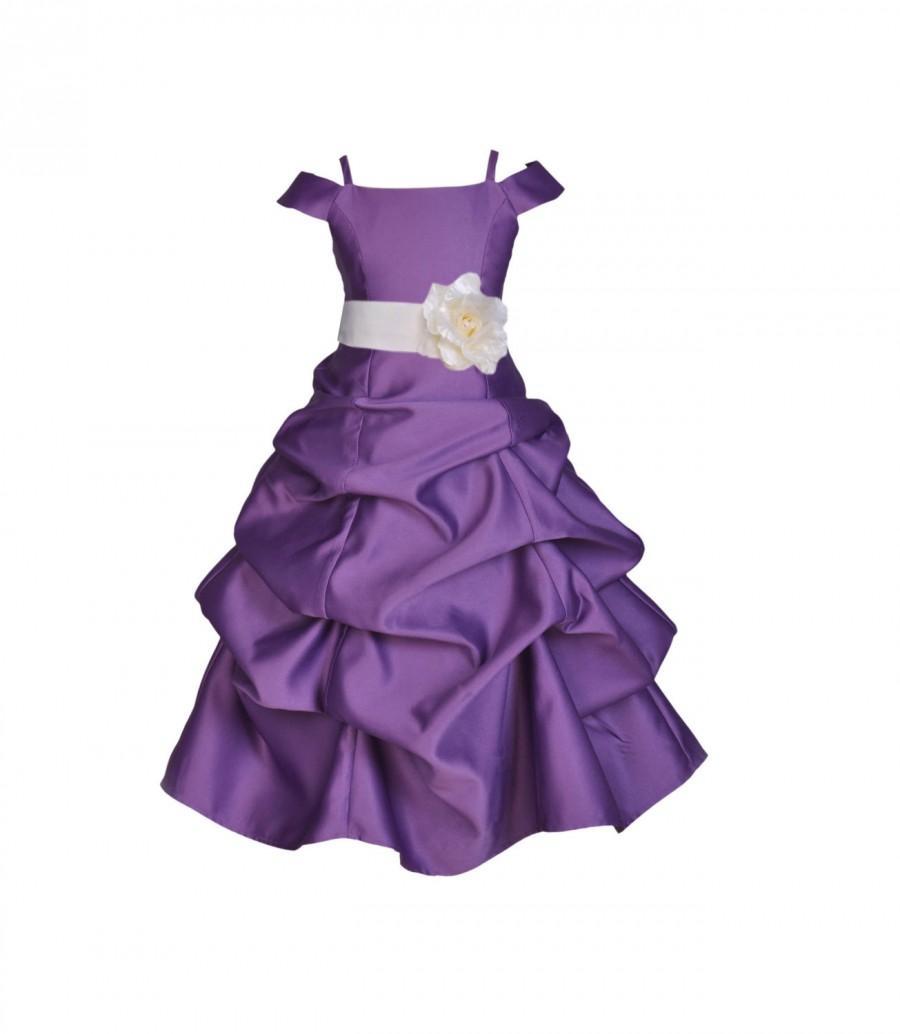 Purple Flower Girl Dress Spaghetti Strap Cap Sleeve Tie Sash ...