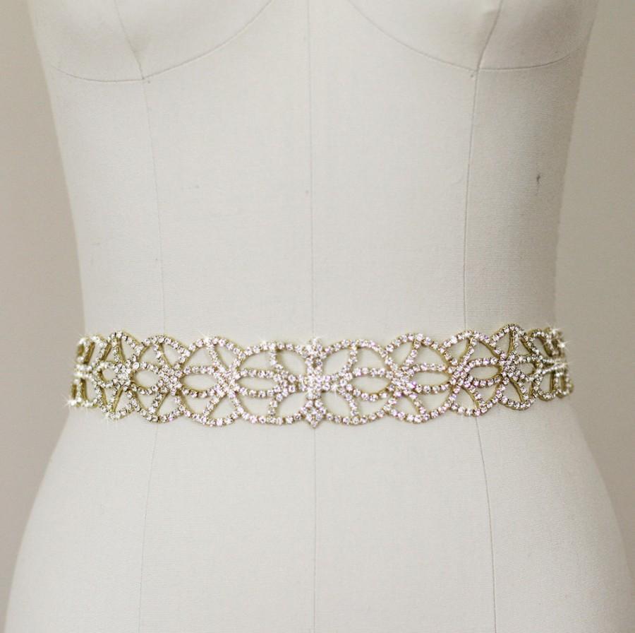 Sale gold wedding dress belt sash gold crystal beaded for Gold belt for wedding dress