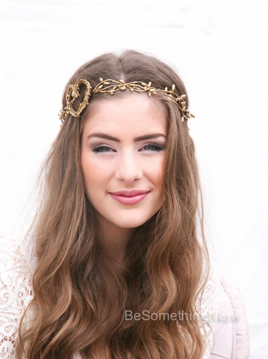 Свадьба - Twisted Golden Berry and Rustic Heart Woodland Wedding Wreath Wedding Crown, Boho Wedding Headpiece, Festival Halo Tie Headband