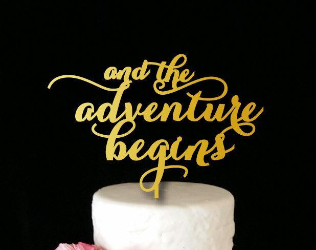 Hochzeit - And the Adventure Begins Cake Topper