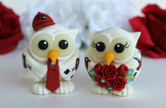 زفاف - Tattoo wedding owl cake topper, rockabilly wedding, personalized bride and groom