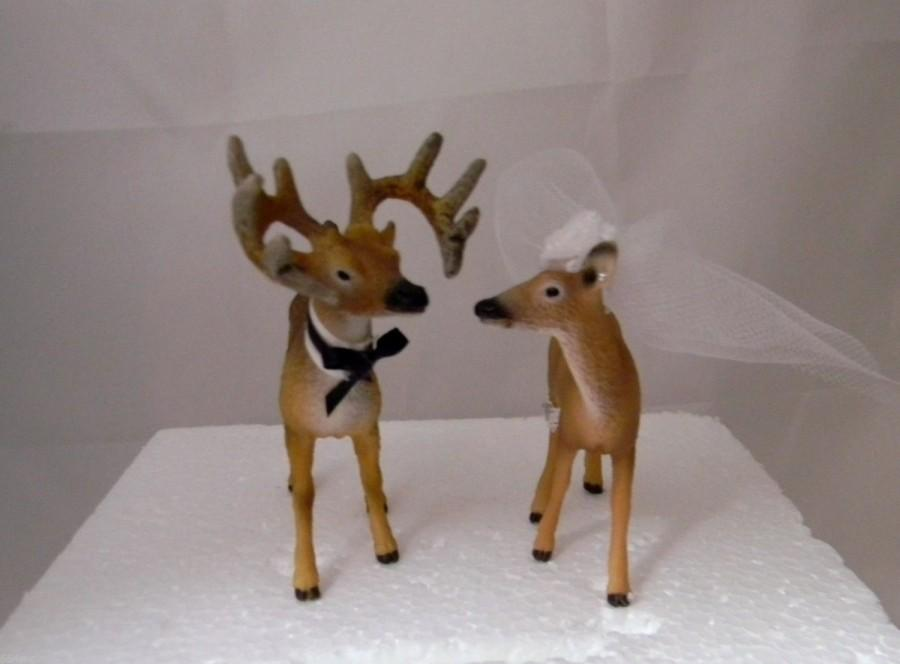 Hochzeit - Wedding Reception Party Redneck Buck and Doe Deer Hunter Cake Topper