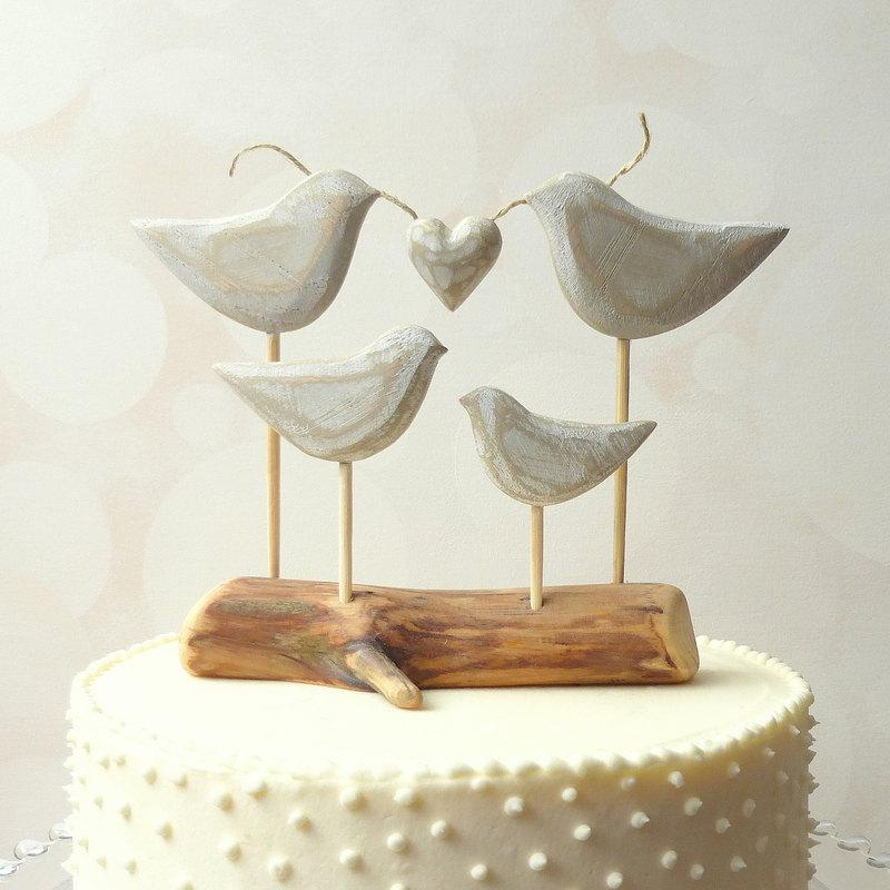 Hochzeit - Family Wedding Cake Topper,  Wooden Cake Topper for your Family Wedding Cake, Beach Wedding Topper, Love Bird Cake Topper