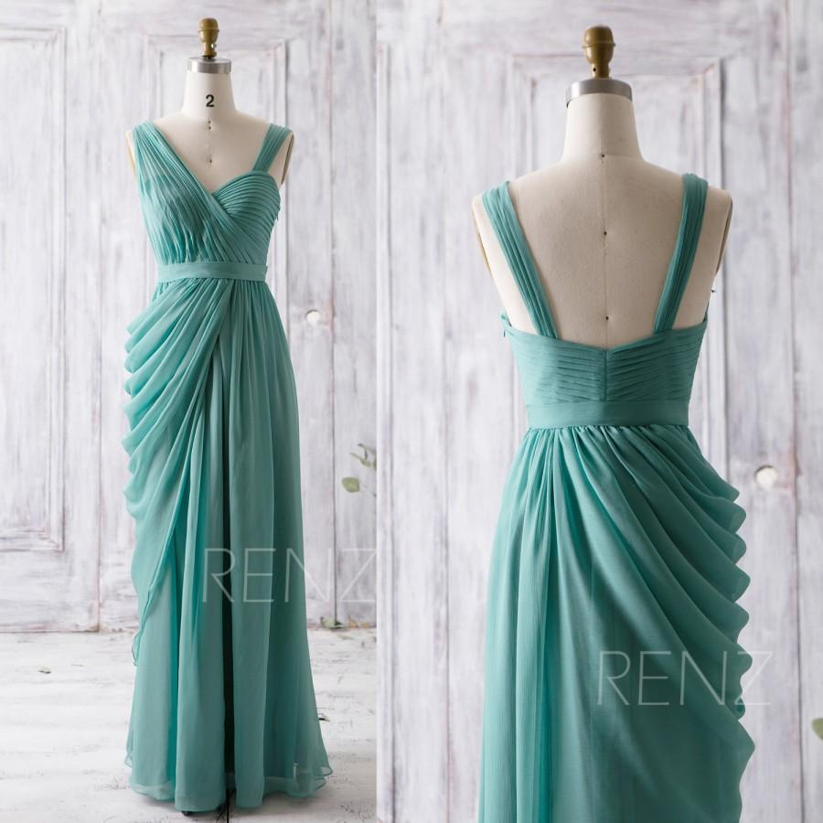Nozze - 2016 Teal Bridesmaid Dress, Long Draped Wedding Dress, Asymmetric Neck Prom Dress, Chiffon Formal Dress, Party Dress Floor Length (Z088)