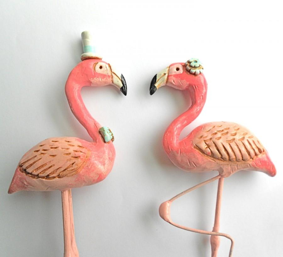 Mariage - Pink Flamingos in Love Wedding cake topper Rustic Wedding as seen in Bride To Be Australia magazine