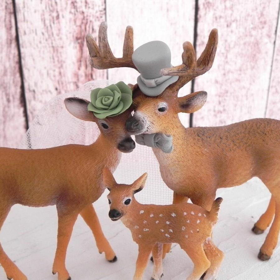 Mariage - Family Deer Wedding Cake Topper, Rustic, Country, Woodland, Green and Grey