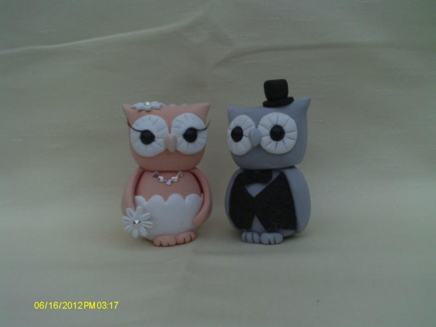 Mariage - Owl bride and groom wedding cake topper