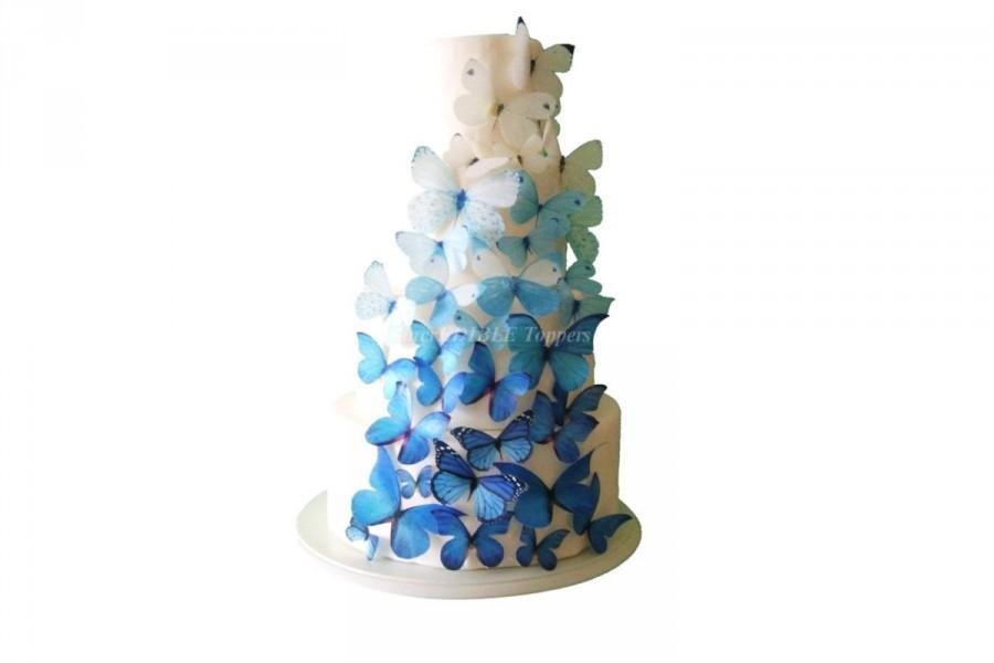 زفاف - WEDDING CAKE Topper Winter Wedding Edible Butterflies - 40 Ombre Blue Cake Decorations, Butterfly Cake