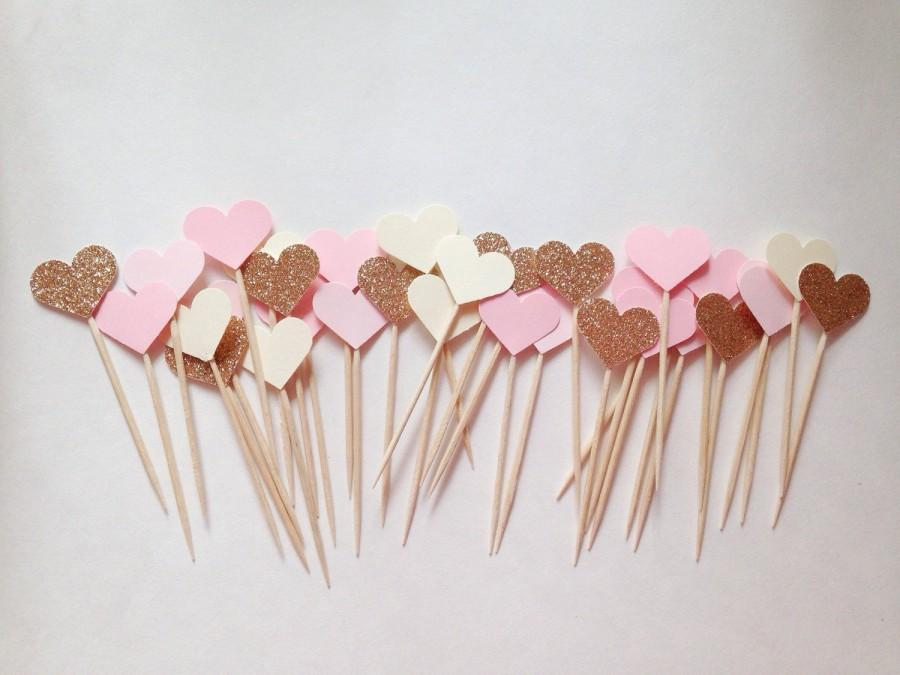 Mariage - Bridal Shower Cupcake Toppers - Chic Bridal Shower - Girly Bridal Shower - Heart Cupcake Toppers - Bridal Shower Decor - Bachelorette
