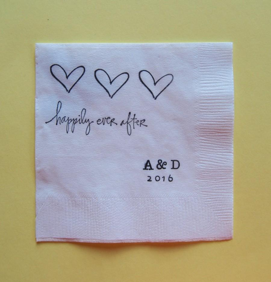 زفاف - Happily Ever After Wedding Cocktail Napkins - Set of 50