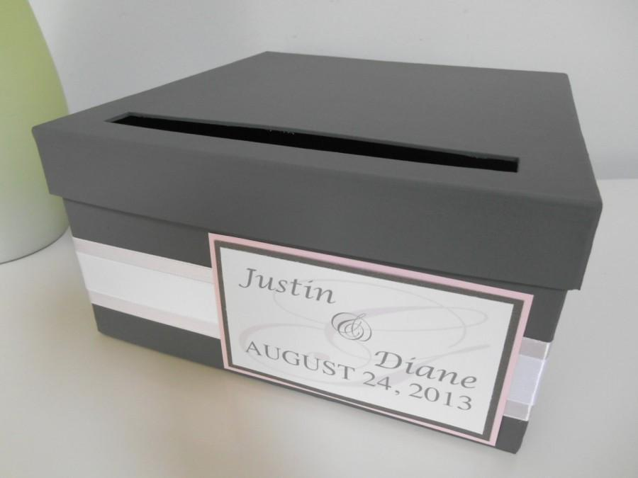 Mariage - Modern Wedding Card Box Bridal Shower Card Box Reception Card Box Custom Handmade Card Box, Blush Pink and Gray, You Customize Colors