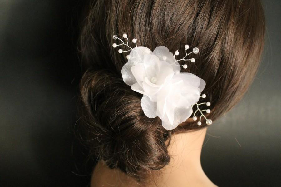 Mariage - Bridal Organza Flower Hair Fascinator, Wedding Accessories, Hair Comb with Crystals and Pearls