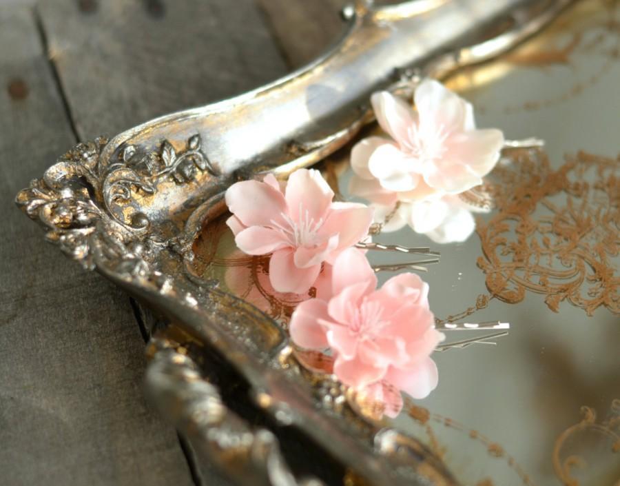 Blush Pink Hair Flower Or Brooch Bridal Wedding: Pink Flower Bobby Pins, Floral Hair Clips, Pastel Flower