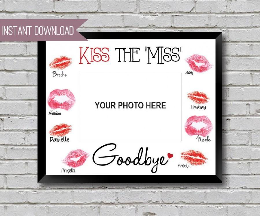"""Mariage - Bridal Shower Sign Bachelorette Sign Kiss the Miss Goodbye 10"""" x 8"""" INSTANT DOWNLOAD"""