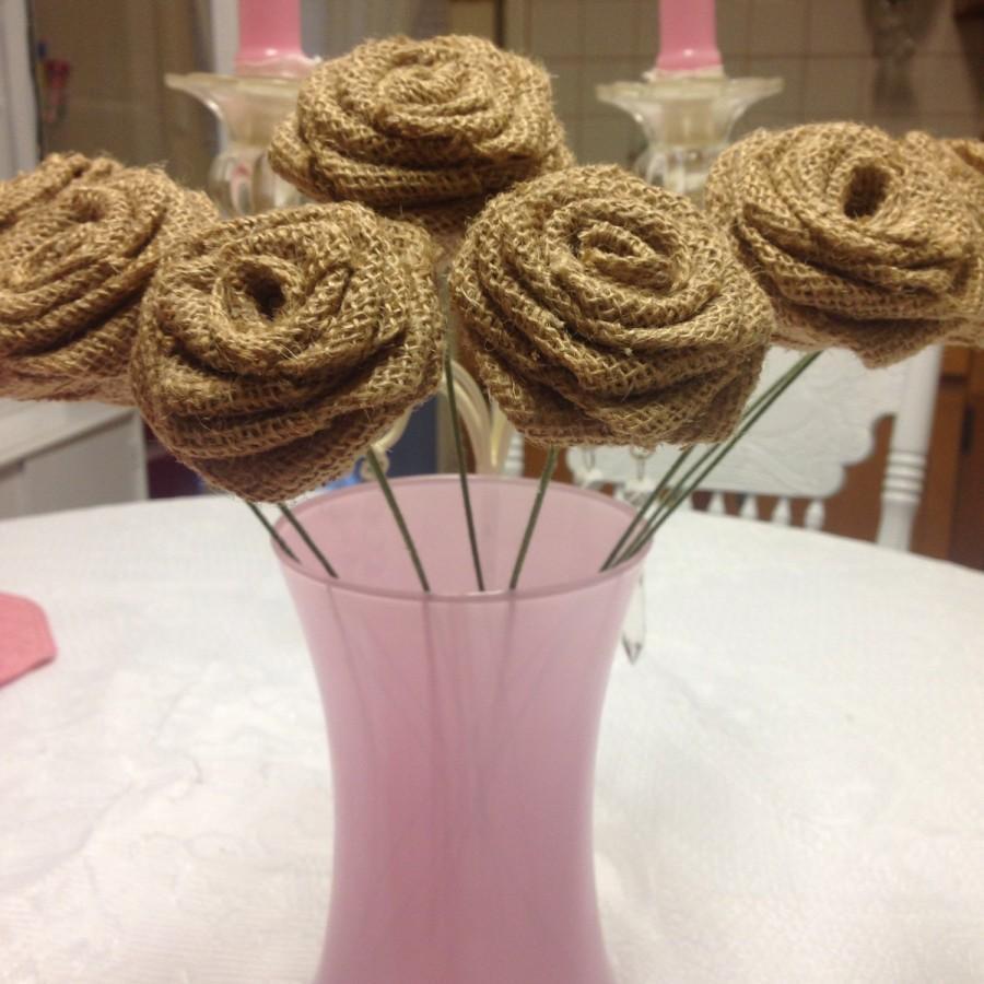 Свадьба - 6  Burlap Roses on Stems--Rustic DIY Decorations, Wedding Decor,DIY wedding